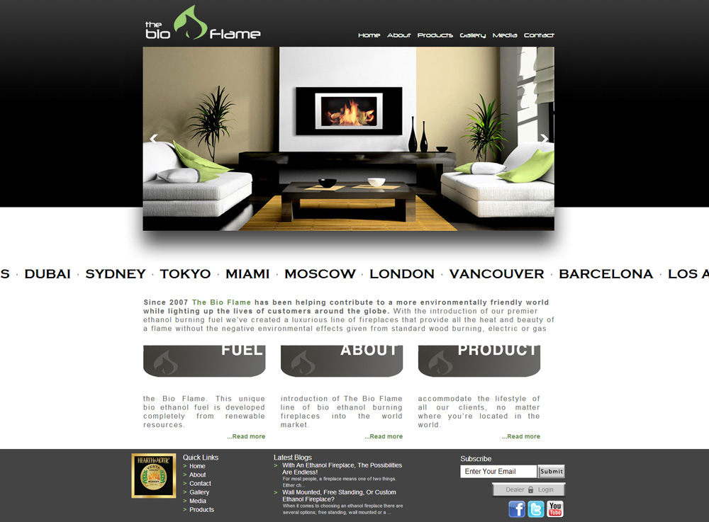 CMS Web Design Eco-friendly Fireplaces | Homepage