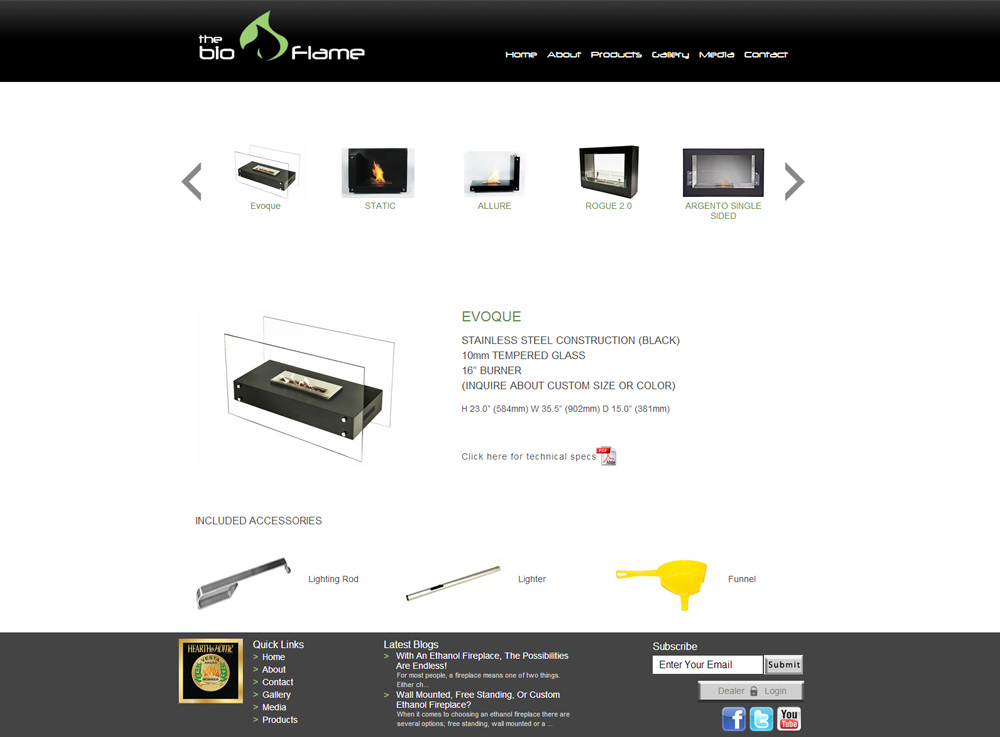 CMS Web Design Eco-friendly Fireplaces | Carousel