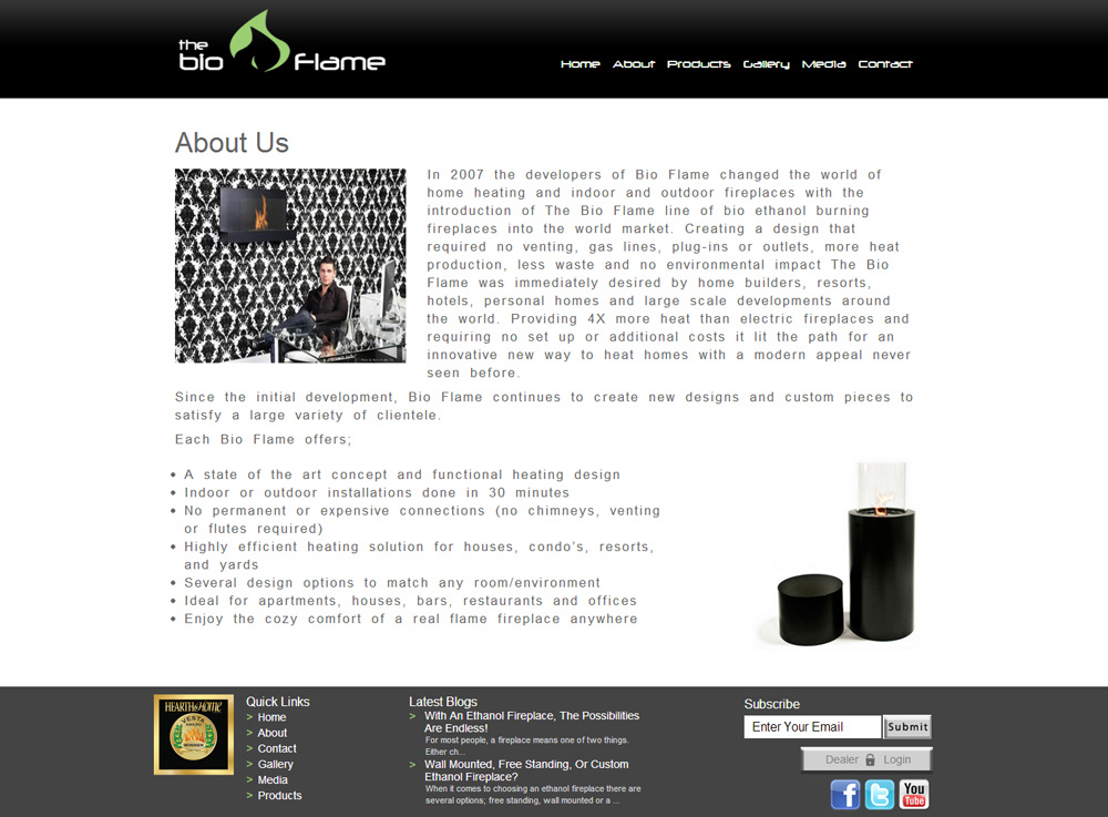 CMS Web Design Eco-friendly Fireplaces | About