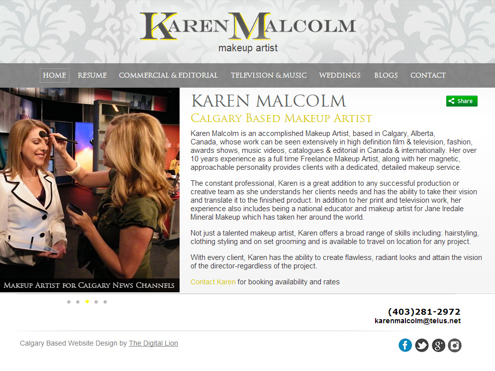 Calgary Makeup Artist Website Design | Homepage