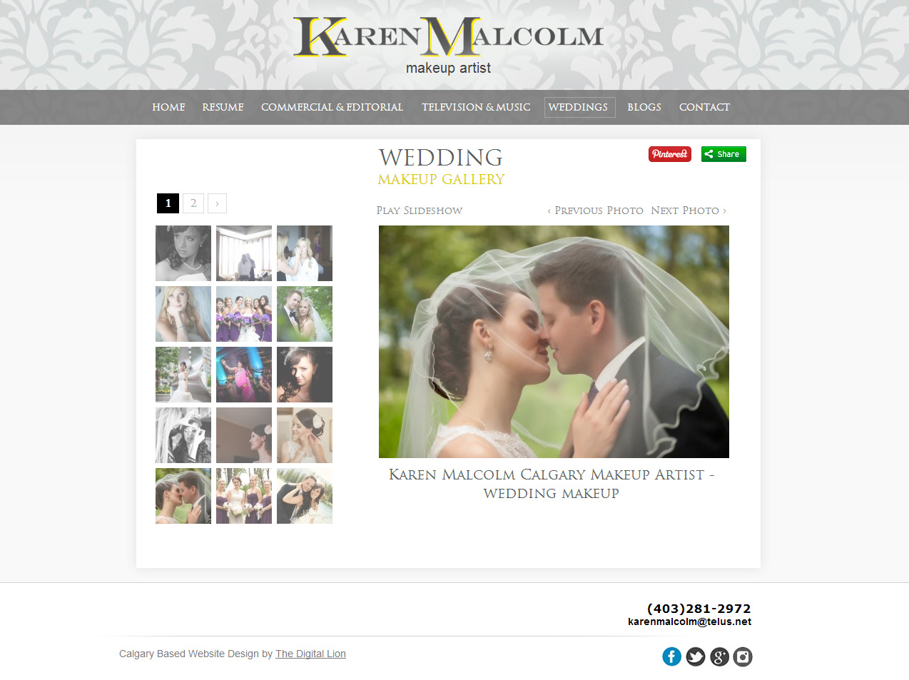Calgary Makeup Artist Website Design | Wedding Gallery