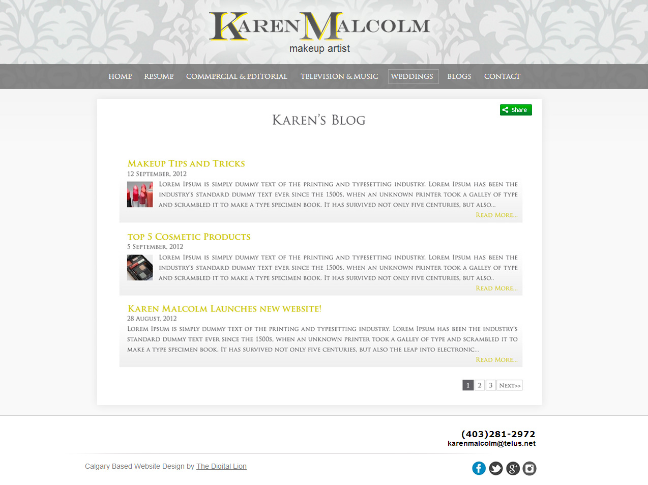 Calgary Makeup Artist Website Design | Blog