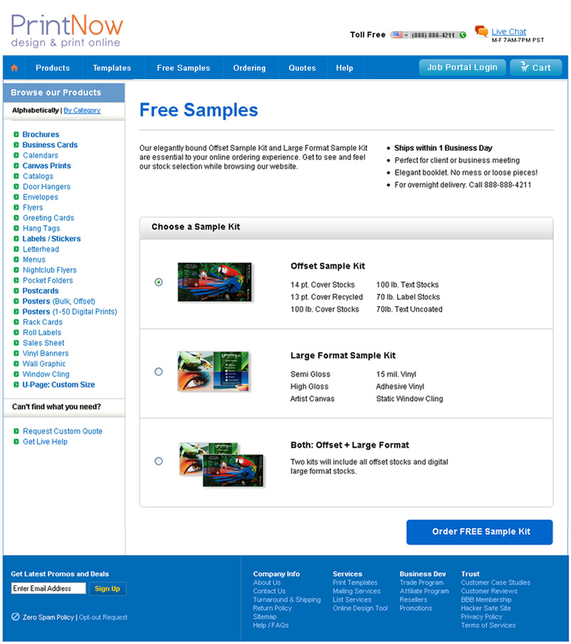 E-commerce Website Development Printing Company   Samples Page