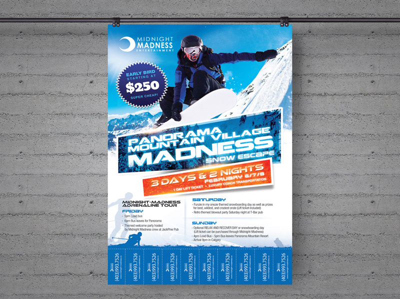 Flyer Design for Snowboarding Excursion with Tear-offs