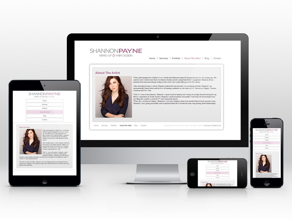 Makeup and Stylist Responsive Web Design | About Page Design