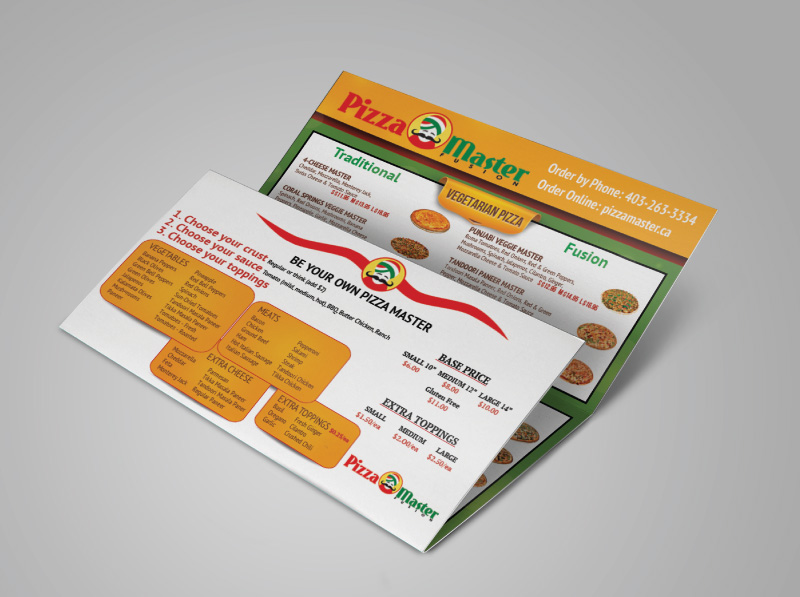 Mail-out Pizza Menu Design Trifold
